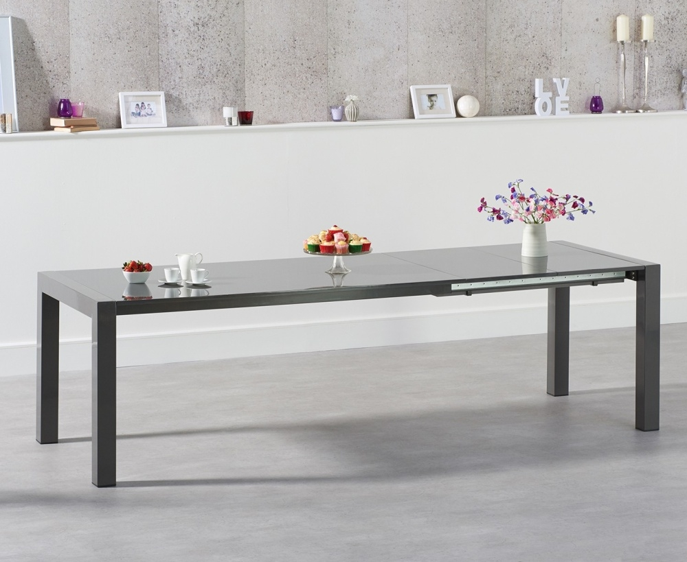 Mark Harris Jamie Dark Grey High Gloss Dining Table - 170cm Rectangular Extending