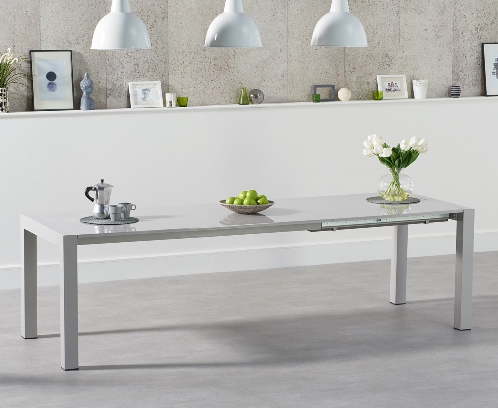 Mark Harris Jamie Light Grey High Gloss Dining Table - 170cm Rectangular Extending