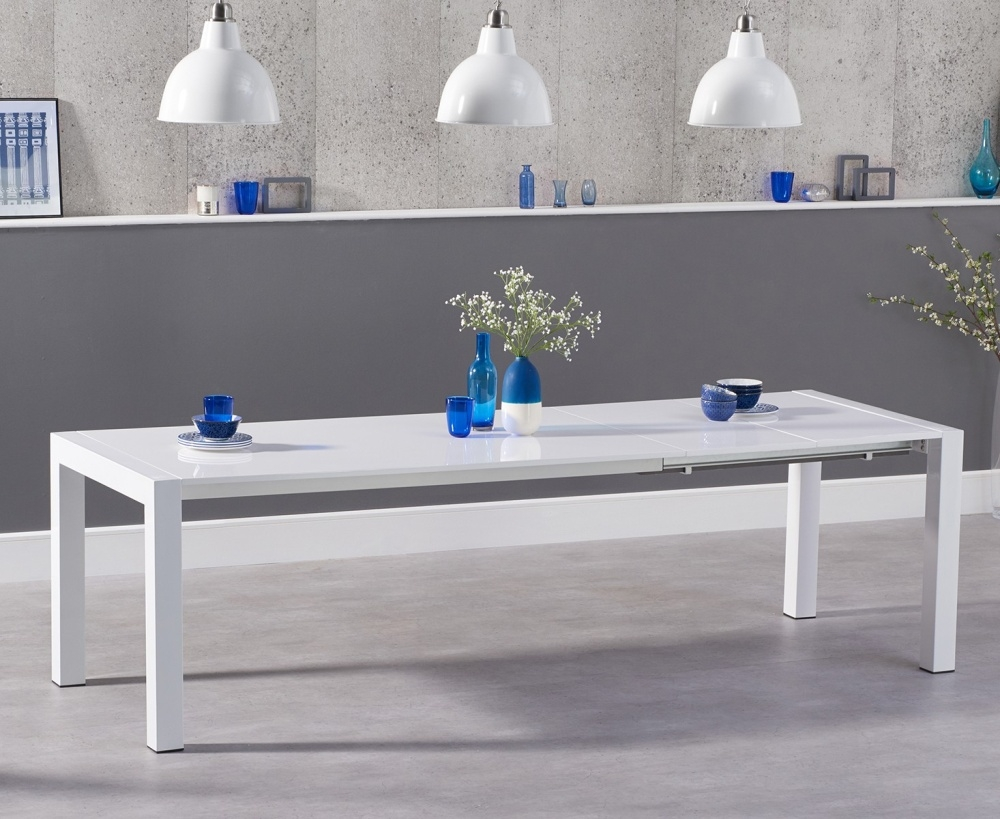 Mark Harris Jamie White High Gloss Dining Table - 170cm Rectangular Extending