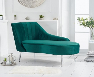 Mark Harris Jara Green Velvet Left Facing Chaise Sofa