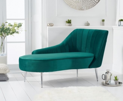 Mark Harris Jara Green Velvet Right Facing Chaise Sofa