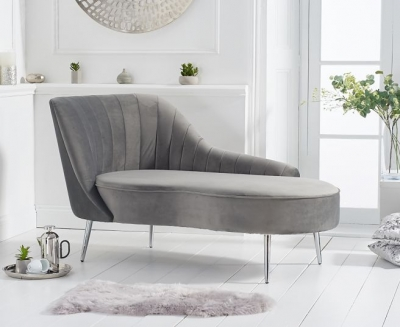 Mark Harris Jara Grey Velvet Left Facing Chaise Sofa