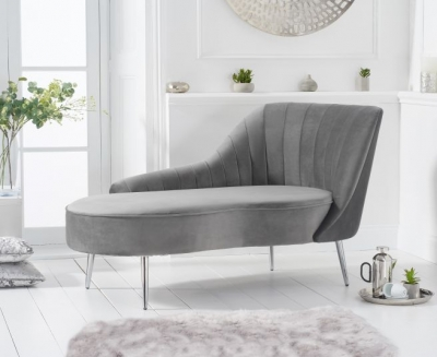 Mark Harris Jara Grey Velvet Right Facing Chaise Sofa