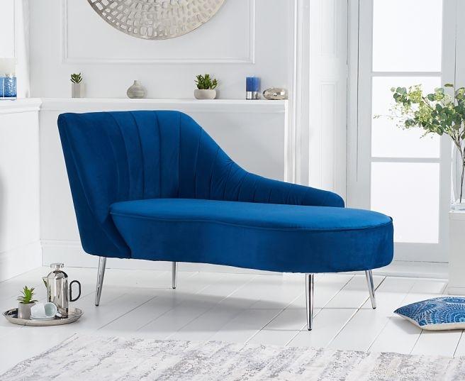Mark Harris Jara Blue Velvet Left Facing Chaise Sofa