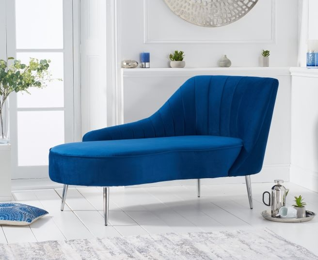 Mark Harris Jara Blue Velvet Right Facing Chaise Sofa