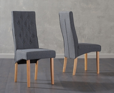 Mark Harris Julia Grey Fabric Dining Chair (Pair)