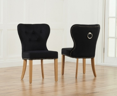 Mark Harris Kalim Dining Chair (Pair) - Black Fabric and Oak