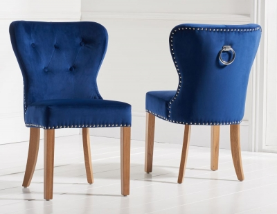 Mark Harris Kalim Dining Chairs (Pair) - Blue Plush Fabric and Oak