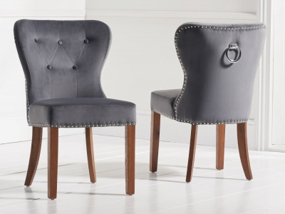 Mark Harris Kalim Dining Chairs (Pair) - Grey Plush Fabric and Dark Oak