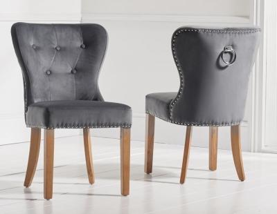 Mark Harris Kalim Dining Chairs (Pair) - Grey Plush Fabric and Oak