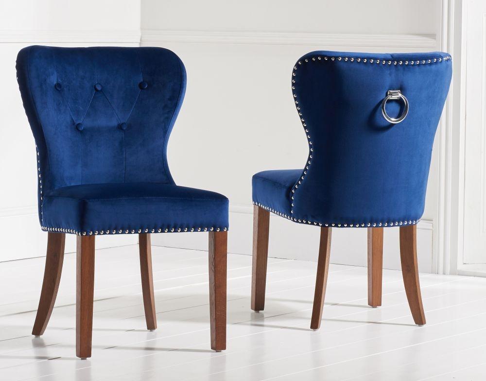 Mark Harris Kalim Blue Plush and Dark Solid Oak Dining Chairs (Pairs)