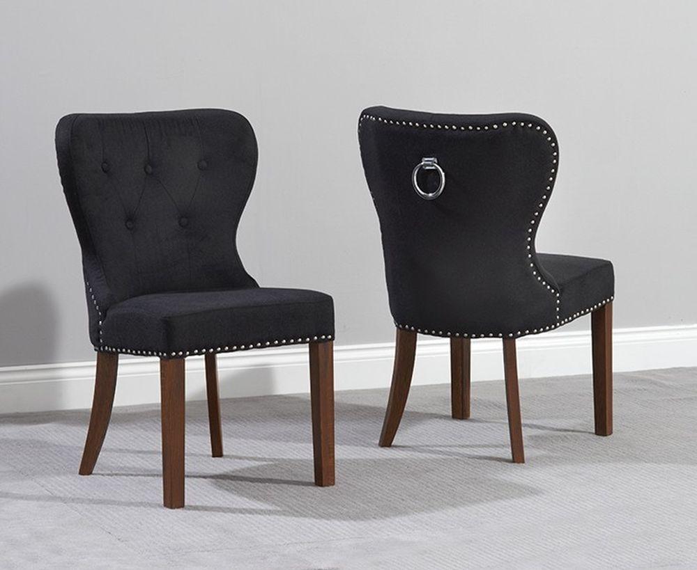 Mark Harris Kalim Dining Chair (Pair) - Black Velvet and Dark Oak