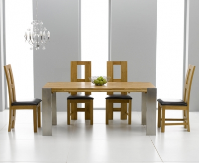 Knightsbridge Oak Dining Set - 180cm Extending with 4 John Louis Brown Chairs