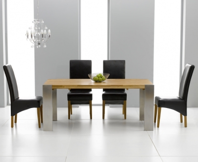 Knightsbridge Oak Dining Set - 180cm Extending with 4 Roma Black Chairs