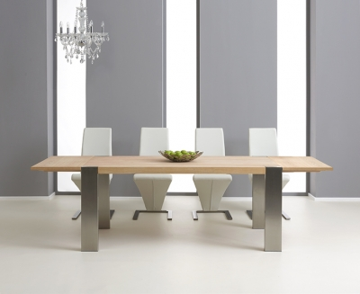 Mark Harris Knightsbridge Oak Dining Set - 180cm Extending with 4 Hereford White Chairs