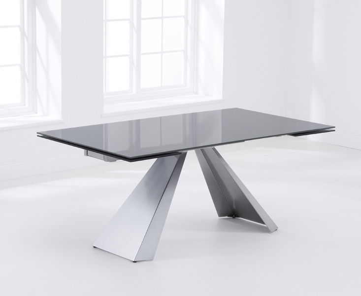 Mark Harris La Linea Dark Grey Glass Dining Table - 180cm Rectangular Extending