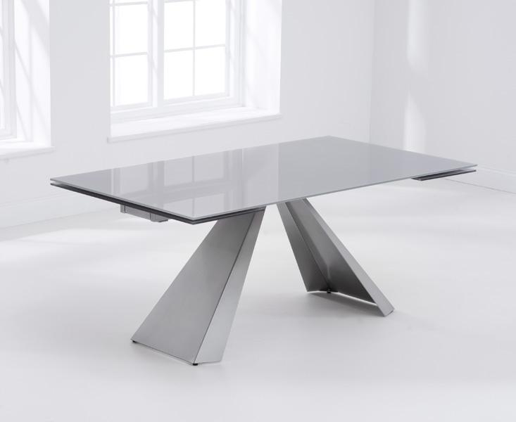 Mark Harris La Linea Light Grey Glass Dining Table - 180cm Rectangular Extending