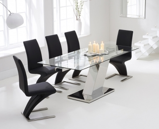 Mark Harris Lamont 140cm Glass Extending Dining Table with 6 Hereford Z Black Chairs