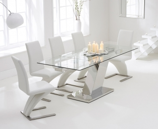 Mark Harris Lamont 140cm Glass Extending Dining Table with 6 Hereford Z White Chairs