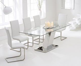 Mark Harris Lamont 140cm Glass Extending Dining Table with 6 Malibu White Chairs