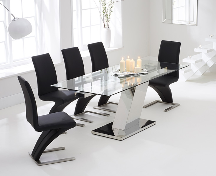 Mark Harris Lamont 140cm Glass Extending Dining Set with 6 Hereford Z Black Dining Chairs