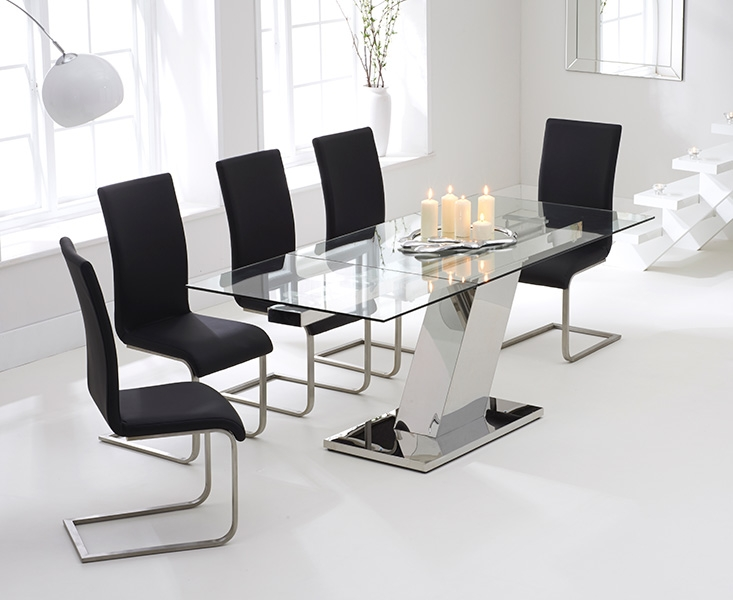 Mark Harris Lamont 140cm Glass Extending Dining Table with 6 Malibu Black Chairs