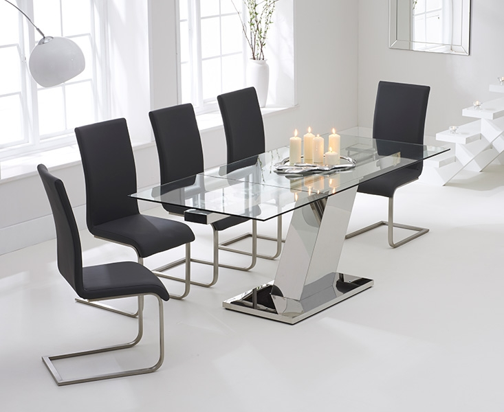 Mark Harris Lamont 140cm Glass Extending Dining Set with 6 Malibu Grey Dining Chairs