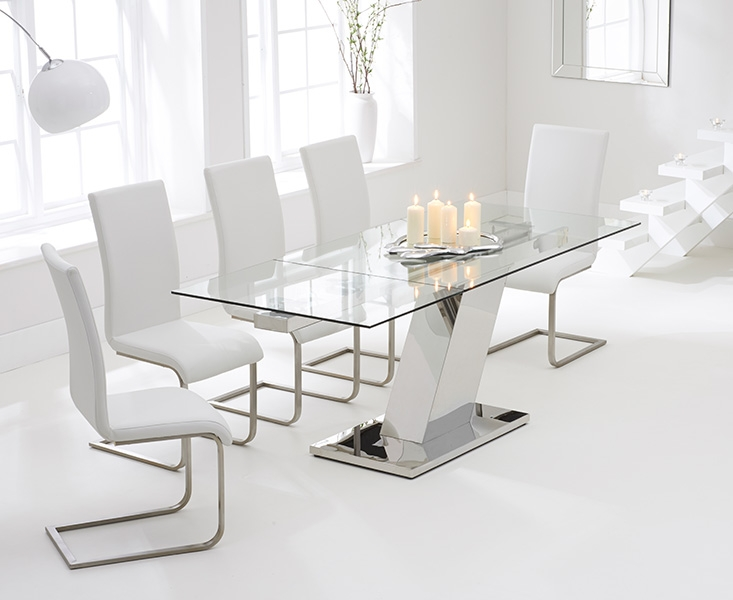 Mark Harris Lamont 140cm Glass Extending Dining Set with 6 Malibu White Dining Chairs