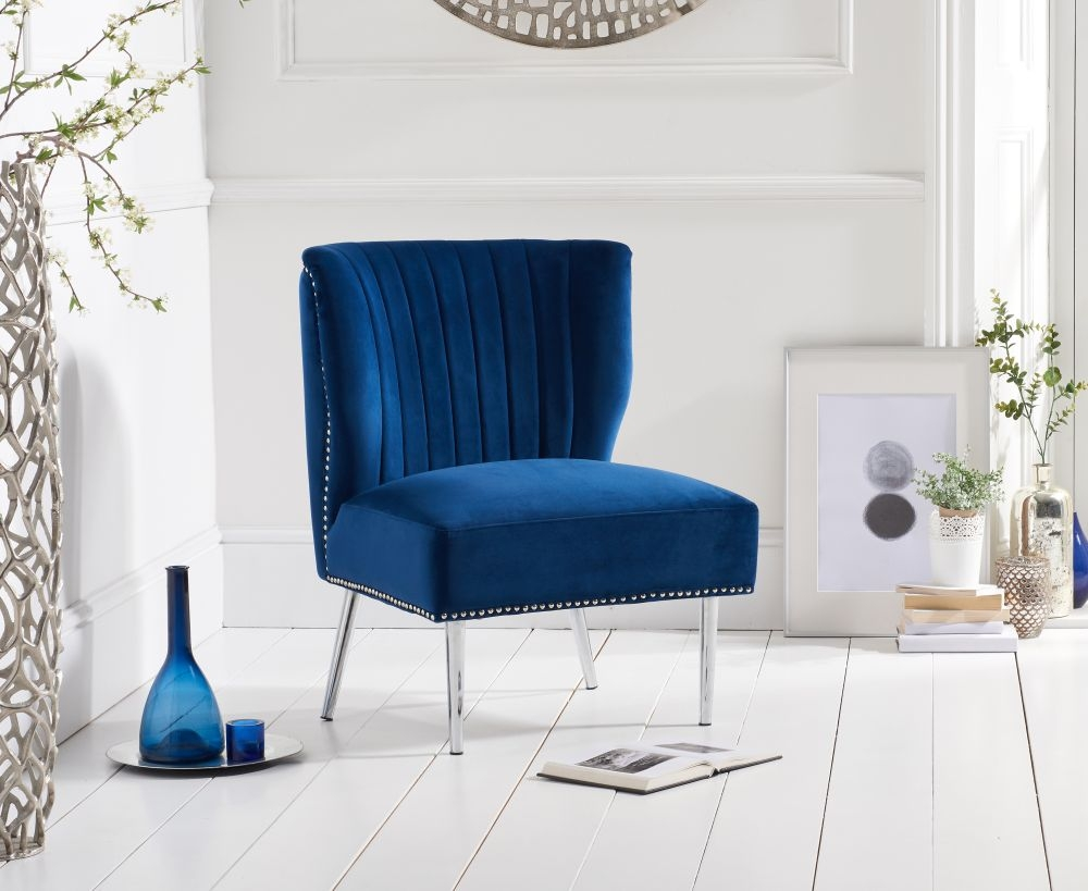 Mark Harris Lara Blue Velvet Accent Chair