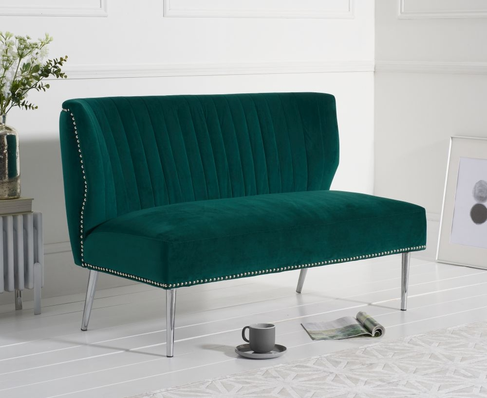 Mark Harris Lara Green Velvet Love Seat Sofa
