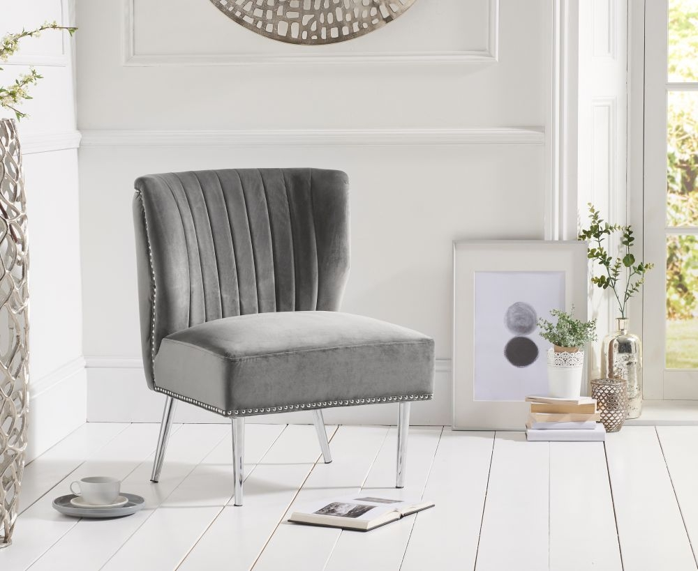 Mark Harris Lara Grey Velvet Accent Chair