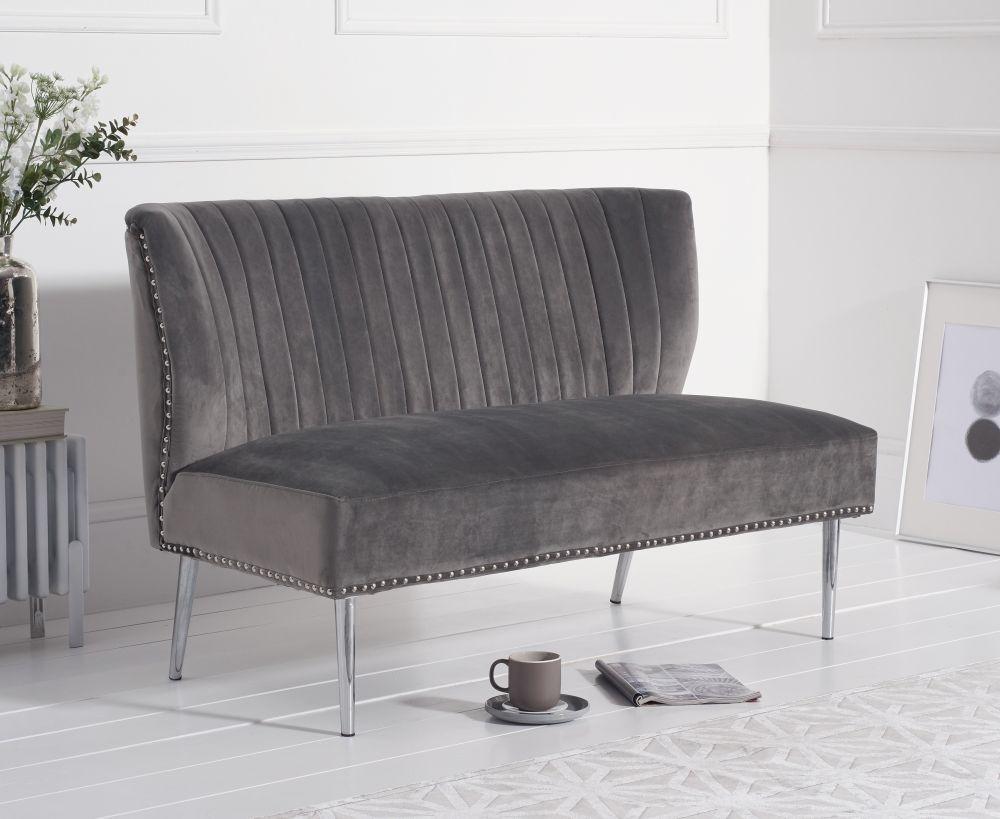 Mark Harris Lara Grey Velvet Love Seat Sofa