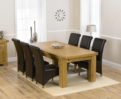 Mark Harris Laurent Solid Oak 230cm Extending Dining Set With 6 Barcelona Brown Dining Chairs