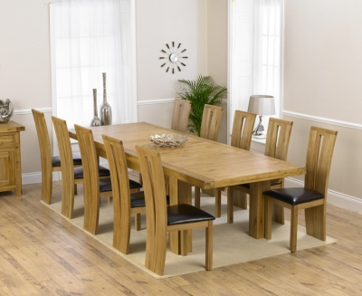 Mark Harris Laurent Solid Oak 230cm Extending Dining Set with 10 Arizona Brown Dining Chairs