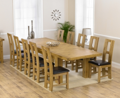 Mark Harris Laurent Solid Oak 230cm Extending Dining Set with 10 John Louis Brown Dining Chairs