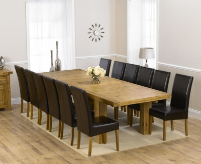 Mark Harris Laurent Solid Oak 230cm Extending Dining Set with 12 Rustique Brown Dining Chairs