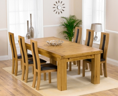 Mark Harris Laurent Solid Oak 230cm Extending Dining Set with 6 Havana Brown Dining Chairs