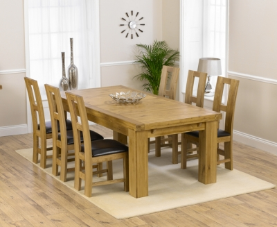 Mark Harris Laurent Solid Oak 230cm Extending Dining Set with 6 John Louis Brown Dining Chairs