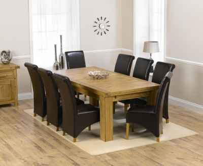 Mark Harris Laurent Solid Oak 230cm Extending Dining Set with 8 Barcelona Brown Dining Chairs