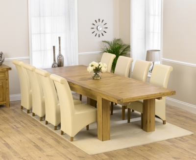 Mark Harris Laurent Solid Oak 230cm Extending Dining Set with 8 Barcelona Cream Dining Chairs