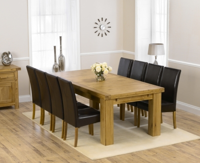 Mark Harris Laurent Solid Oak 230cm Extending Dining Set with 8 Rustique Brown Dining Chairs