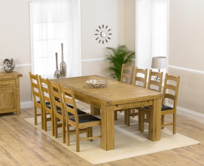 Mark Harris Laurent Solid Oak 230cm Extending Dining Set with 6 Valencia Brown Dining Chairs