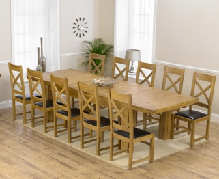 Mark Harris Laurent Solid Oak 230cm Extending Dining Set with 10 Canterbury Brown Dining Chairs