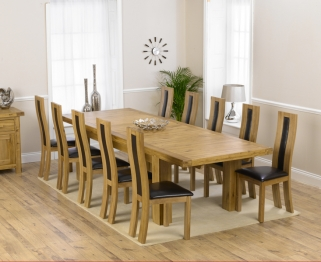 Mark Harris Laurent Solid Oak 230cm Extending Dining Table with 10 Havana Brown Chairs