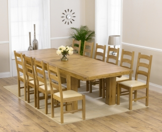 Mark Harris Laurent Solid Oak 230cm Extending Dining Table with 10 Valencia Cream Chairs