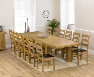 Mark Harris Laurent Solid Oak 230cm Extending Dining Table with 12 Valencia Brown Chairs