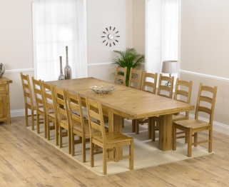Mark Harris Laurent Solid Oak 230cm Extending Dining Table with 12 Valencia Timber Chairs