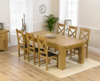 Mark Harris Laurent Solid Oak 230cm Extending Dining Set with 6 Canterbury Brown Dining Chairs