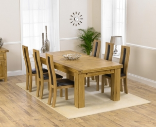 Mark Harris Laurent Solid Oak 230cm Extending Dining Table with 6 Havana Brown Chairs