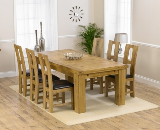 Mark Harris Laurent Solid Oak 230cm Extending Dining Set with 6 John Louis Black Dining Chairs